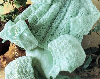 Baby Knitting Pattern 4 ply Pram Set Matinee Coat Leggings Bonnet Hat Mittens pdf