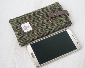 Smart Phone Sleeve in black and green herringbone Harris Tweed with leather closure | Handmade in the UK