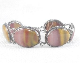 Vintage Sterling Silver Mookaite Jasper Link Bracelet with 5 Big Mookaite Stones