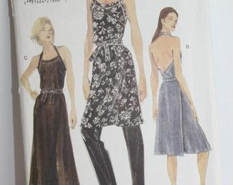 Vintage 1998 Vogue Pattern No. 9871 Misses Dress and Pants Size 14-16-18 A-Line Halter Dress Style
