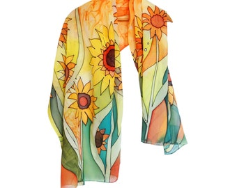 Sunflowers silk scarf hand painted. Yellow, orange green scarf. Pareo, sarong with sunflowers. Designer shawl. Sunflowers shawl, wrap.