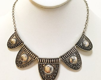 Silver Tribal Style Necklace / Bib Necklace  / Tribal Bib Necklace.