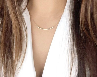 14K solid gold simple curved bar necklace curved tube necklace CTB-N1002