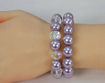 Lavender Glass Bead Bracelets, Set of Two, Stretch Bracelets, Glass Pearls, Glass Faceted AB Crystals, Swarovski AB Crystal Spacers