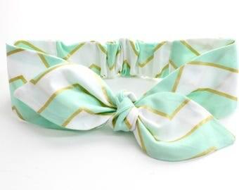 SALE! Baby bow knot headband -  mint & metallic gold chevron