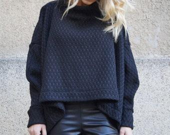 Black Asymmetrical Sweater/Cozy Sweater/Knitwear/Long Women Knitted Sweater/Loose Plus Size Sweater/Maxi Blouse/Pullover by FloAtelier F1645