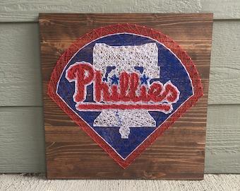 Philadelphia Phillies Baseball Team Man Cave String Art Wood Sign Wall Art Home Decor
