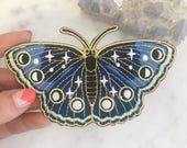 Night Butterfly Patch - Iron On Embroidered Patches - Moon Phases, Stars & Night Sky - Midnight Blue
