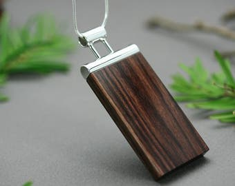 Brown jewelry, Brown necklace, Long brown pendant, Unique brown necklace, Silver pendant Brown, Brown pendant necklace, Necklace unique wood