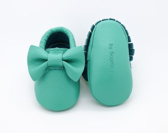 Baby Moccasins, Baby Teal Moccasins, Baby Leather Shoes, Genuine Leather Moccs, Toddler Moccasins, Baby Bow Moccasins