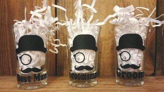 Wedding Shot Glass Wedding Gift Top Hat Mustache Groom - Vinyl decals for shot glasses