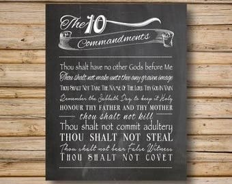 10 Commandments, Home Decor Poster, DIGITAL FILE Only, 8x10 & 5x7 Included, Religious Printable, The Ten Commandments