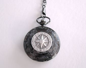 True North Pocket Watch, Nautical Compass Pocket Watch, Semi Hunter Style Compass Men's Pocket Watch, Groom Best Men Father's day Gift