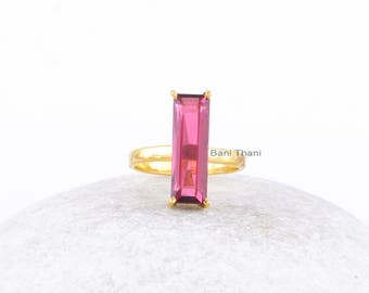 Pink Tourmaline Ring-Baguette 6x18 mm Ring-Tourmaline Ring-Gemstone Ring-Micron Gold Plated Ring-Sterling Silver Ring-Silver Ring Jewelry