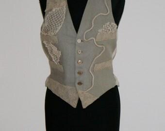 New vest / beige vest / wool hipster vest / gypsy vest / boho chic vest / vintage vest / custumizado vest