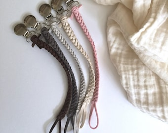 CUSTOM set of 3 - Simply Leather Pacifier Clip - Grand