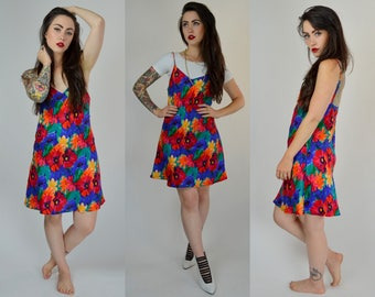 Sydney | Small | 1990s Colorful Floral Slip 90s Mini Vintage Silk Dress