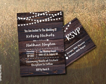 Rustic Wood Wedding Invitation Printable // Globe Lights Invite Set // DIY Invitation Kit // Fairy Light Invitation Template // Fall Wedding