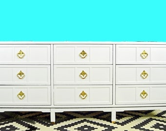 SOLD *****   Mid Century Lacquered White Dresser