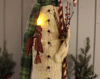 Joe - primitive snowman - winter decor - primitive Christmas decor - tall snowman - green scarf