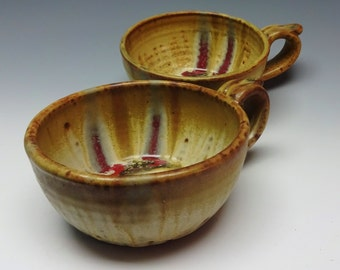 Set of 2 Soup Bowls, Soup Mugs, Soup Bowls, Brown Ash, Pottery Bowl, Handmade Pottery, Stoneware Bowl, Cream Bowl, Brown Bowl, Ayers Pottery