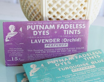 Vintage PUTNAM FABRIC DYE Packets - Set of 3 - Lavender, Light Blue & Turquoise