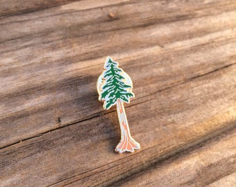 Redwood Enamel Pin, Hard Enamel Pin, Brooch, Rose Gold Pin, Lapel Pin, Tree Pin, Limited Edition Pin, Stocking Stuffers, California Pin