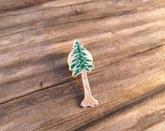 Redwood Enamel Pin, Hard Enamel Pin, Brooch, Rose Gold Pin, Lapel Pin, Tree Pin, Limited Edition Pin, Stocking Stuffers, California Pin