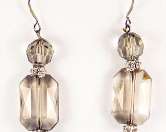 SMOKY CRYSTAL EARRINGS, crystal earrings, crystal jewelry, smoke colored crystals, grey earrings, grey jewelry, translucent crystals - 0380