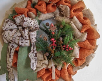 Unique Fall Burlap Door Wreath for the Hunter or Man Cave Decor