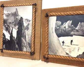 France High mountain pair pictures . Alps 1950 . Skiers. Mountain escalation . Black and white photo. Rope picture frame .