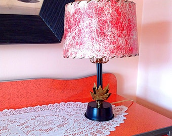 Mid century lamp with fiberglass red shade