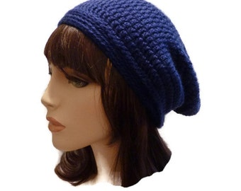 Slouchy Beanie, Rich Royal Blue Winter Hat, Ski Hat, Beanie for Men, Men's Hat, Women's Beanie, Teen Slouchy Beanie