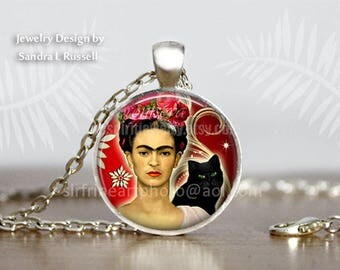 Frida Kahlo Jewelry, Frida Kahlo Earrings, Frida Kahlo Necklace, Photo image Jewelry, Women Artist, Black Cat, Frida Kahlo Gift