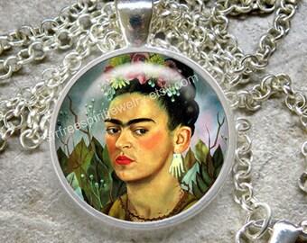 Frida Kahlo Necklace, Frida Jewelry, Cabochon jewelry, Women Artist, Mexican Artist, Art Jewelry, Frida Gift, Famous artist gift