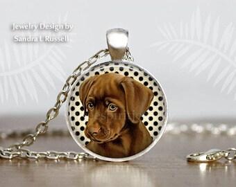 Dog Jewelry, Chocolate Lab Puppy, Photo Image Jewelry, Labrador Retreiver Puppy Necklace, Pets, Animals, Dogs, Chocolate Lab Gift, Dog Gift