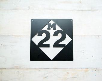 M-22 Michigan Road Sign Steel Replica