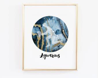 Aquarius Horoscope Art, Astrology Poster, Zodiac Constellation, Zodiac Wall Art, Aquarius sign, star Constellation, January Birthday Gift