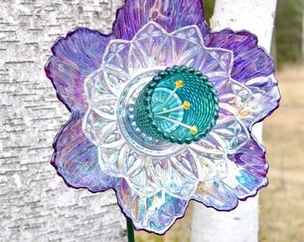 Upcycled Home Art Decor, Purple Flower Decor&Stem, Summer Flower Art, Upcycled Art Decor, Modern Flower, Home Decor Gift