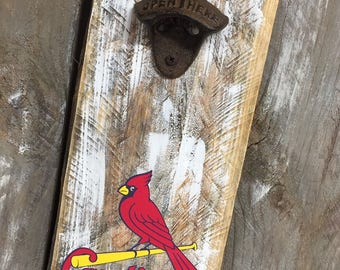 St. Louis Cardinals Vintage Style Wall Mounted Bottle Opener - Perfect Groomsmen Gift - Father's Day Gift - Birthday Gift