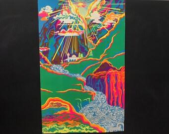 Vintage The Third Eye Inc Black Light Poster - #730 Mountain Morning  1971 Artist Roberta Ehrlich - Original - Psychedelic - Black Light