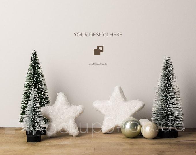 CHRISTMAS MOCKUP 6000x4000 Pixel / Christmas Trees and Snowy Stars / Merry Christmas Mockup / Merry Xmas Mockup / Santa Claus Mockup