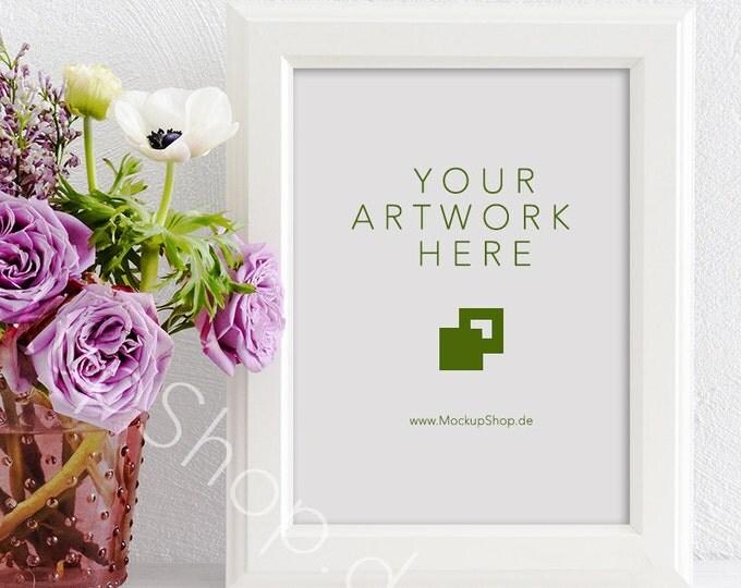 """SPRING MOCKUP FRAME 5x7"""" / 10x14"""" / spring flowers / valentines day / white empty frame mockup / flower frame mockup / roses  vertical frame"""