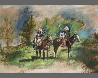Native American Acrylic Painting Vintage American Art Men On Horses 36 x 24