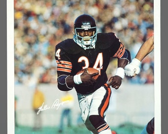 1980s Walter Payton Chicago Bears Player Poster 23 x 35 Vintage Poster