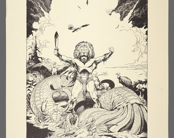 1979 William Stout Dragon Slayers Print Plate 1 Limited Edition 261/1000 Black & White Art 14.25 x 11.5