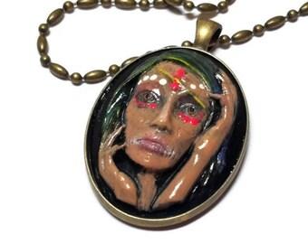 Voodoo Priestess Cameo Necklace, Voodoo Queen Necklace, Mardi Gras Jewelry
