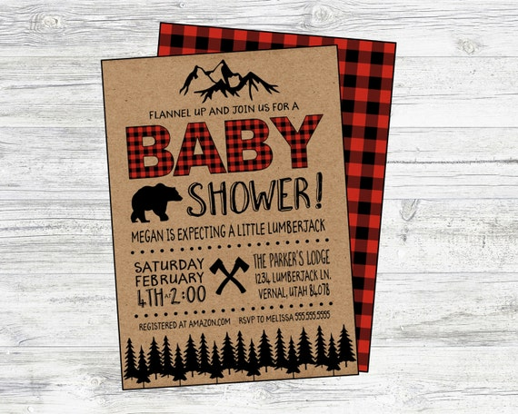 lumberjack baby shower invitation  personalized digital
