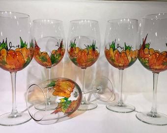 Hand painted Harvest Pumpkins wine glass