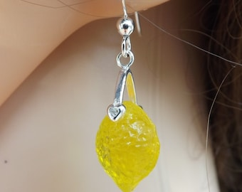 Lemons earrings, lemon jewellery, fruit earrings, summer earrings, yellow earrings, summer jewellery, small earrings